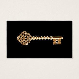 Cartão De Visitas Chave de esqueleto de Steampunk do ouro dourado