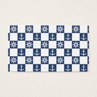 Cartão De Visitas Checkered branco azul náutico