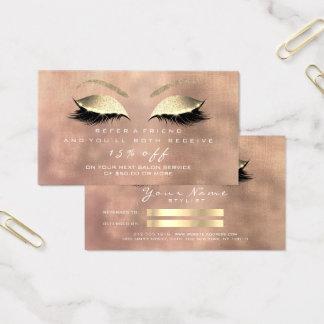 Cartão De Visitas Chicotes cor-de-rosa de linho do ouro do brilho do