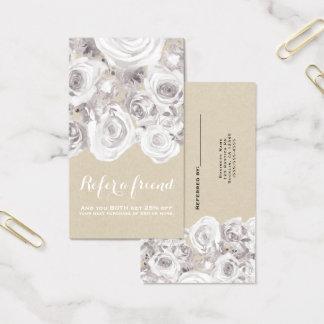 Cartão De Visitas Chique floral rústico branco de Kraft dos rosas de