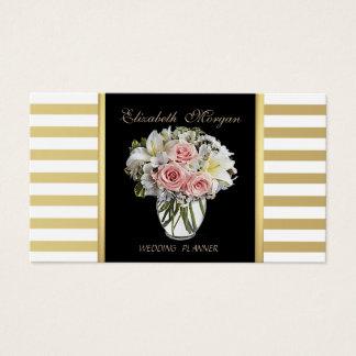 Cartão De Visitas Chique luxuoso à moda elegante, listrado, flores