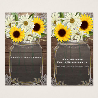Cartão De Visitas Chique rústico da faísca do frasco de pedreiro dos