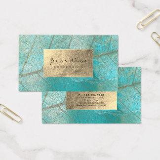 Cartão De Visitas Cimento botânico da folha de ouro do azul de