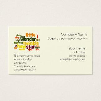 Cartão De Visitas Cintilação, cintilação pouco cuidado do berçário