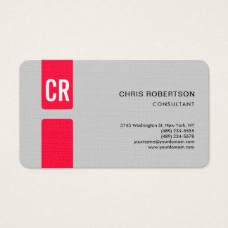 Cartão De Visitas Cinza vermelho Monogrammed moderno minimalista do