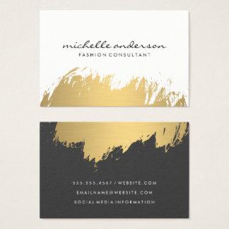 Cartão De Visitas Cinzas brancas escovadas ouro do falso