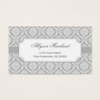 Cartão De Visitas Cinzas de prata e branco do damasco elegante do
