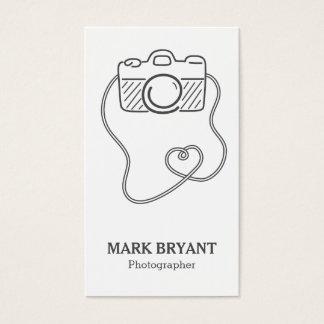 Cartão De Visitas Cinzas e branco, Doodle da câmera, fotógrafo