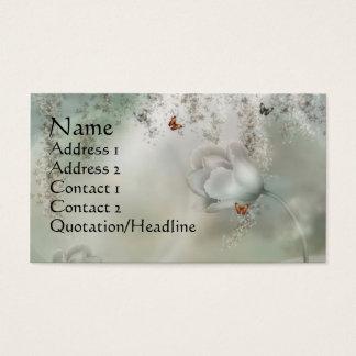 Cartão De Visitas Cinzas enevoadas do KRW florais com borboletas