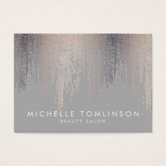 Cartão De Visitas Cinzas Luxe do teste padrão da chuva dos confetes
