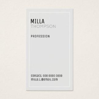 Cartão De Visitas cinzas muito pálidas minimalistas do vertical