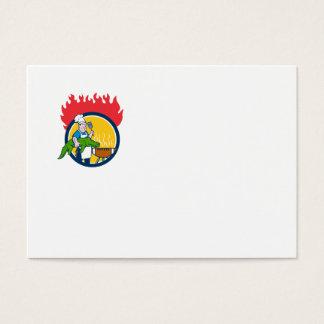 Cartão De Visitas Círculo Carto do fogo da grade do CHURRASCO da