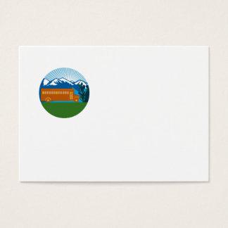 Cartão De Visitas Círculo das montanhas do cacto do vintage do auto