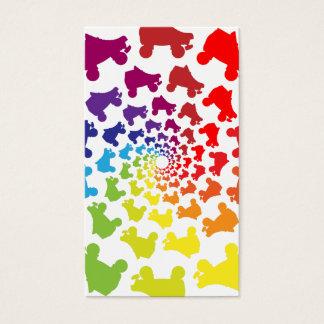 Cartão De Visitas círculo do arco-íris do rollerskate