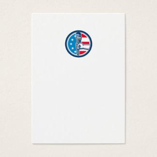 Cartão De Visitas Círculo ereto R da bandeira dos EUA da chave de