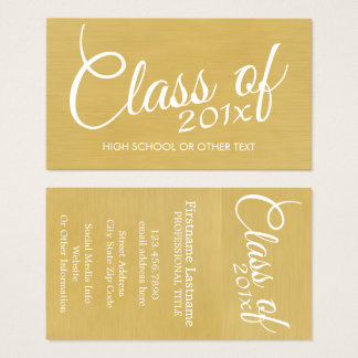 Cartão De Visitas Classe da graduação do ouro com de escola feita