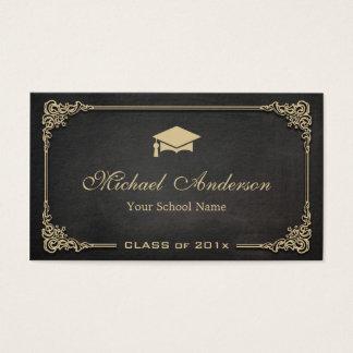 Cartão De Visitas Classe preta elegante do ouro de aluno diplomado