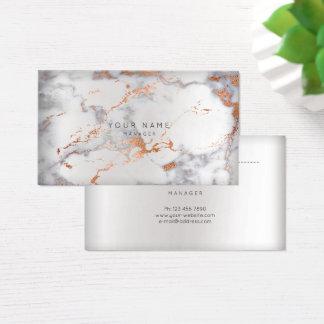 Cartão De Visitas Cobre cinzento de mármore abstrato VIP da prata da
