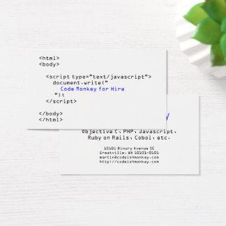 Cartão De Visitas Codifique o Javascript do macaco