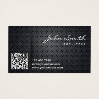 Cartão De Visitas Código preto profissional do metal QR do arquiteto