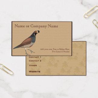 Cartão De Visitas Codorniz na gama-guta cinzenta com folhas