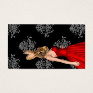 Cartão De Visitas Coelho no vestido vermelho