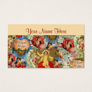 Cartão De Visitas Colagem bonita do querubim do amor dos namorados