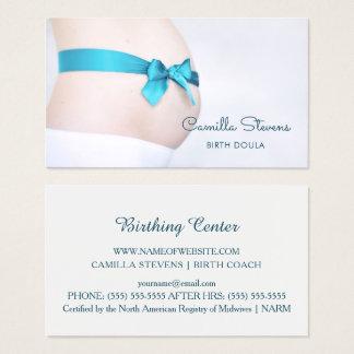Cartão De Visitas Colisão grávida do bebê de Doula do parto com fita