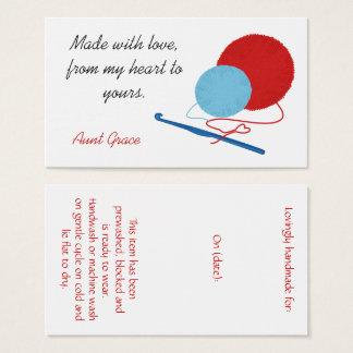 Cartão De Visitas Com o Tag do cair do Crochet do amor