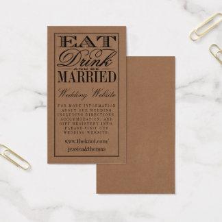 Cartão De Visitas Coma, bebida & seja casamento rústico casado de
