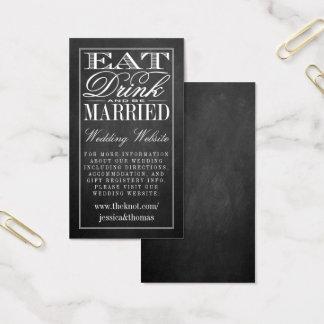 Cartão De Visitas Coma, bebida & seja Web site casado do casamento