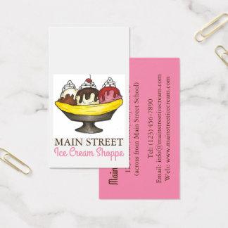 Cartão De Visitas Comida da loja da loja do sorvete do Sundae da