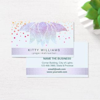 Cartão De Visitas Confetes cor-de-rosa do instrutor da ioga da flor