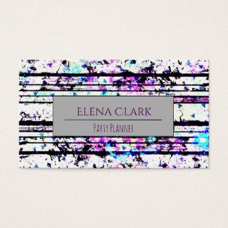 Cartão De Visitas Confetes preto e branco do divertimento listrados