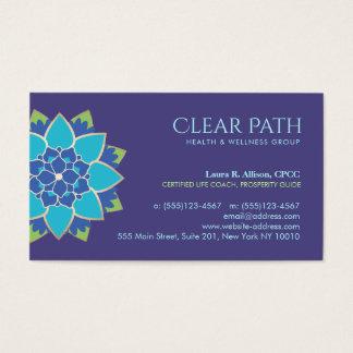 Cartão De Visitas Conselheiro do bem-estar de Lotus azul e saúde