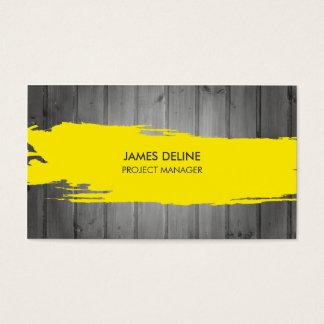 Cartão De Visitas Construção cinzenta moderna da listra do amarelo