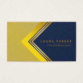 Cartão De Visitas Construção geométrica da finança do ouro azul