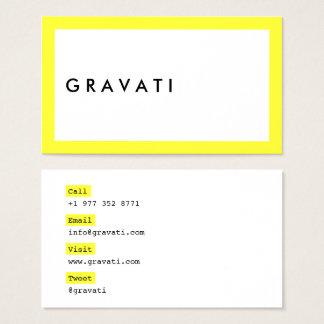 Cartão De Visitas Contraste amarelo de néon corajoso branco moderno