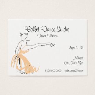 Cartão De Visitas Cor do abricó do estúdio da dança do balé