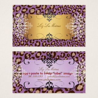 Cartão De Visitas Cor roxa do fundo do impressão do leopardo/DIY