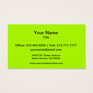 Cartão De Visitas Cor sólida verde fluorescente