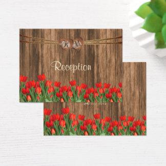 Cartão De Visitas Coração com tulipas vermelhas - recepção do