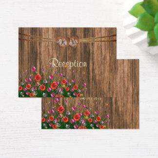Cartão De Visitas Coração com Wildflowers - recepção do monograma
