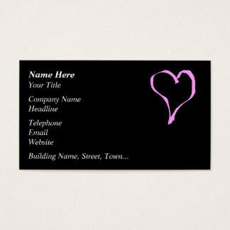 Cartão De Visitas Coração cor-de-rosa e preto bonito do amor