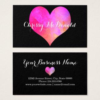 Cartão De Visitas Coração da aguarela com informação personalizada