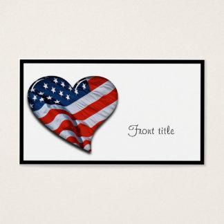 Cartão De Visitas Coração da bandeira americana