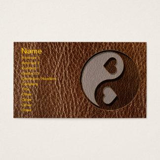 Cartão De Visitas Coração de Yin Yang do Couro-Olhar