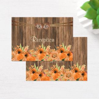 Cartão De Visitas Coração do monograma com as laranjas florais -