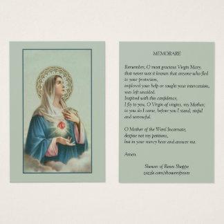 Cartão De Visitas Coração imaculado da oração de Mary Memorare