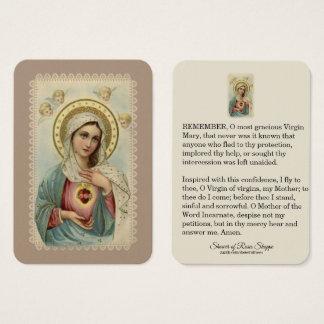 Cartão De Visitas Coração imaculado dos querubins de Mary Memorare